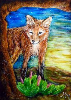 ACEO SPRING2015 Original Clayboard Scratch Art FOX Animal WildlifeTree Landscape #Miniature