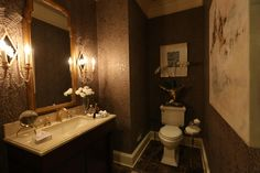 Powder room at the #DCDesignHouse designed by #LenaKroupnik. #NiermannWeeks #DCDesignHouse2016 #2016DCDesignHouse #MariannePollock #NuriehMozaffari #callowayfineart #LenaKroupnikInteriors #FarrowandBall #Wallpaper #Powderroom