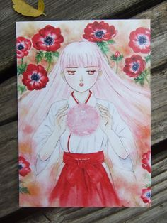 Red anemone - hand-painted watercolor style postcard, girl illustration, Japan, red flowers, painting