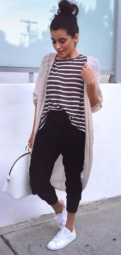 summer outfits  Striped Tee + Beige Cardigan + Black Pants + White Pumps