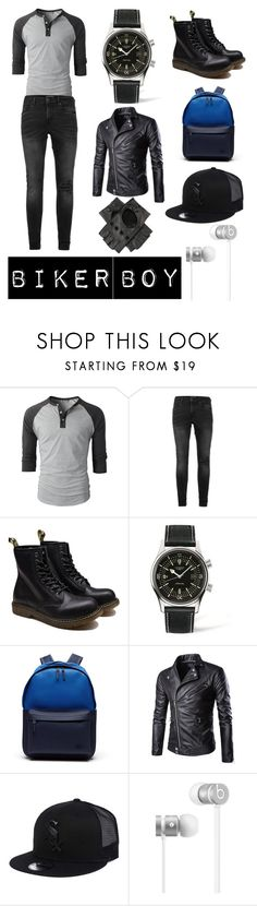 """""""Biker Boy"""" by maggie1515 ❤ liked on Polyvore featuring Topman, Longines, Lacoste, New Era, Beats by Dr. Dre, Black, men's fashion and menswear"""