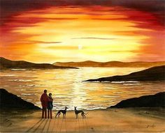 Person Silhouette, Silhouette Painting, Dog Tree, Greyhound Art, Lurcher, Fantasy Landscape, Beautiful Sunset, I Love Dogs, Lovers Art