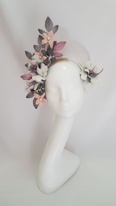 Millinery By Mel Leather floral fascinator Floral Fascinators, Floral Headpiece, Flower Headdress, Fascinator Headband, Fashion Accessories, Hair Accessories, Head Jewelry, Millinery Hats, Fancy Hats