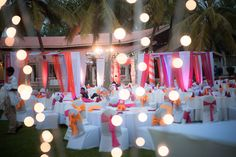 Love the colour combinations and use of lighting at this event.