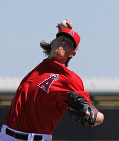 Jered Weaver #36 of the Los Angeles Angels of Anaheim