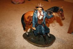 Western home decor cowboy with horse statue