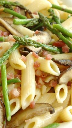 Penne with Asparagus, Shiitake, and Pancetta Recipe