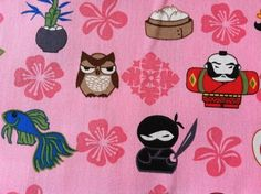Japanese Pink Fabric Owl Sushii Daruma Ninja Koi Fish Frog Design 1 Yd | OneOfAKindHawaii - Craft Supplies on ArtFire