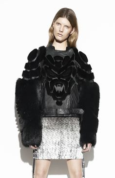 Wearable Art - sculpted patterns with fur - black on black, dimensional textures & structured symmetry; sculptural fashion design // Anne Sofie Madsen