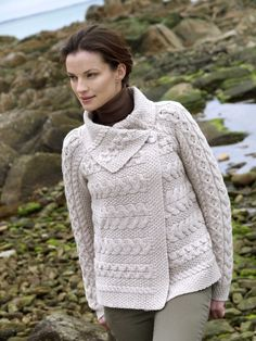 ebb1af2c5 The horizontal stitching on this cardigan contrasts with the vertical  stitches on the sleeves which makes for a very interesting piece of Irish  knitwear.