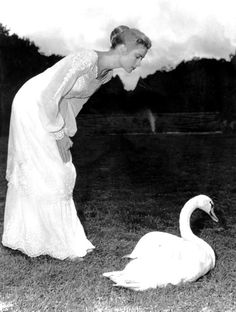 Grace Kelly photographed on set of the 1956 film, The Swan.