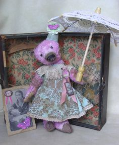 "15"" mohair bear. Custom dyed pink. Vintage style dress, vintage trims. BradyBears.com"