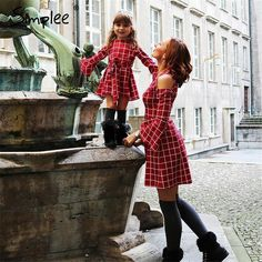 ce2a98c20711f5 Mommy Daughter Matching Plaid Cut out Shoulder Dress – HopinShopin Matching  Family Outfits