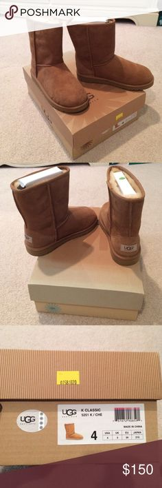 NWOT classic chestnut UGGs kids Brand new never worn. It's a kids size 4 which fits women size 6. Does not come with the plastic wrappings but it has the shoe holder to keep the shape of the UGGs. Open to reasonable offers. 100% authentic !!!! UGG Shoes Winter & Rain Boots