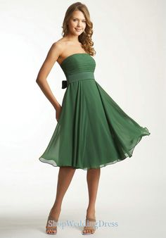 green color chiffon brides maid dress | Strapless Ruched Chiffon Knee Length Elegant Bridesmaid Dresses Green ...