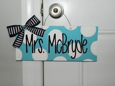 Personalized Polka Dot Teacher Door Sign