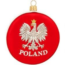 Polish Eagle Crest On Red Disc Glass Ornament