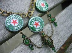 beer cap necklaces | Heineken Beer Bottle cap necklace by Vacationhouse on Etsy