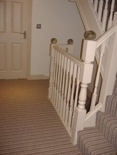 Hall, Stairs and Landing in Striped Carpet Hallway Carpet, Hallway Flooring, Carpet Stairs, Hallway Inspiration, Home Decor Inspiration, Hallway Ideas, Striped Hallway, Striped Carpets, Stair Landing
