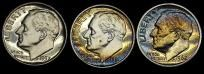 1961,62,&1957 Rainbow Toned Silver Dime Proofs