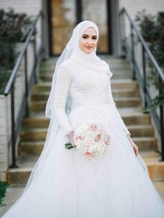 Discount A Line Lace Applique Muslim Long Sleeves Full Back Wedding Dress With Sweep Train Outside Bridal Dress With Kerchief A Line Wedding Dresses Strapless Best A Line Wedding Dresses From Saruidress 226 14 Muslimah Wedding Dress, Hijab Style Dress, Muslim Wedding Dresses, Boho Wedding Dress, Bridal Dresses, Muslim Brides, Hijab Chic, Tulle Wedding, Gown Wedding