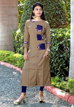 Get here the latest and exclusive collection of kurti. Buy online sorcerous brown party wear kurti for casual and party. Dress Neck Designs, Designs For Dresses, Blouse Designs, Kurti Sleeves Design, Kurta Neck Design, Kurti Patterns, Dress Patterns, Jaipur, Printed Kurti Designs