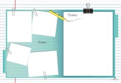 Plantilla Child 29x42 para la Creación de Foto Libros - Fondo Agenda con cinco casillas sujetas con clips