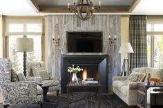 Funky wingbacks, barnwood fire surround. Vail Ramshorn Unit 12 ...