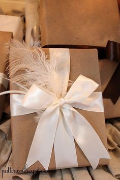 Gift Wrapping Ideas : Simply wrap a box with plain paper finish it with a wide satin ribbon and a bit of matching tulle. Elegant Gift Wrapping, Wedding Gift Wrapping, Present Wrapping, Creative Gift Wrapping, Christmas Gift Wrapping, Wrapping Ideas, Creative Gifts, Wedding Gifts, Christmas Gifts