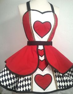 Queen Of Hearts Costume Apron, Disneybound, Cosplay Wonderland, PinUp Apron, Retro Apron Killer Heels, Off With Their Heads, Pin Up, Queen Of Hearts Costume, Retro Apron, Bodice Top, Kona Cotton, Disneybound, Halloween Costumes