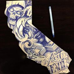 The right way to maximise your an understanding of tattoos Chicano Tattoos Sleeve, Forearm Sleeve Tattoos, Tattoo Sleeve Designs, Body Art Tattoos, Evil Tattoos, Chicanas Tattoo, Skull Girl Tattoo, Money Tattoo, Cali Tattoo