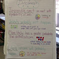 Probability outcomes anchor chArt -Add certain Math Measurement, Math Fractions, Probability Games, Classroom Charts, Math Classroom, Classroom Ideas, Math Teacher, Teaching Math, Teaching Ideas