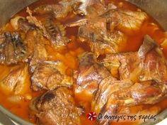 Κουνέλι σαλμί #sintagespareas Greek Recipes, Meat Recipes, Recipies, Pot Roast, Chicken Wings, Sausage, Good Food, Pork, Beef