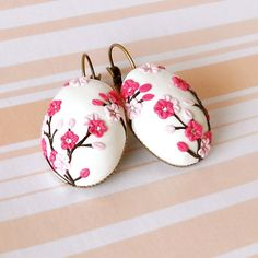 CHERRY BLOSSOM PINK Hand Made Lever Back Earrings by TallPoppi