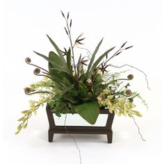 Great Price on Silk Orchids with Fern Curls in a Rectangular Mirrored Chocolate Planter.Free Shipping. Silk Orchids, Faux Flower Arrangements, Faux Flowers, Interior Styling, Home Accessories, Fern, Black And White, Curls, Chocolate