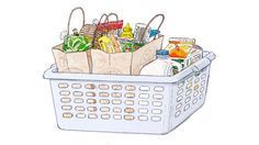 You'll never lose a carton of eggs to a runaway can of tomatoes again if you keep a laundry basket in the trunk of your car. It's great for stowing groceries while driving, and for unloading once you're home.