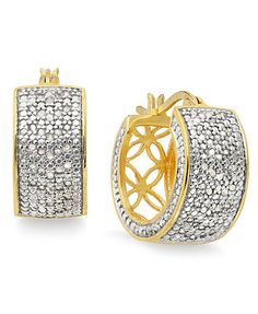 Victoria Townsend Small Rose-Cut Diamond Hoop Earrings in 18k Gold over Sterling Silver (1/2 ct. t.w.)