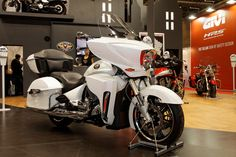 A Victory Cross-Country Touring motorcycle in white.