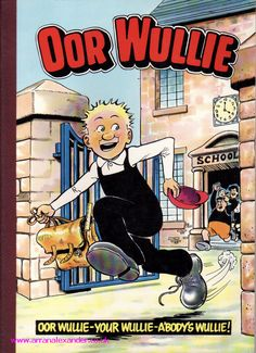 Oor Wullie running through gates of school