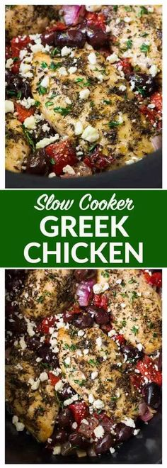 Slow Cooker Greek Chicken – moist, juicy chicken with a bright Mediterranean flavors, roasted red peppers, and feta. Crock Pot Recipes, Delicious Crockpot Recipes, Crockpot Chicken Healthy, Healthy Slow Cooker, Crock Pot Cooking, Cooker Recipes, Healthy Recipes, Soup Recipes, Shrimp Recipes