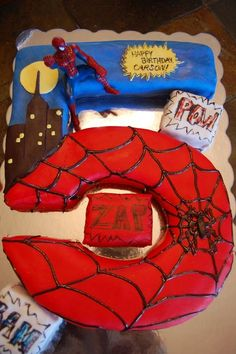 Image detail for -Pieces of Molly: Spiderman Cake, and Apologies Age 6 and 4 tho Spiderman Birthday Cake, 5th Birthday Cake, Superhero Cake, Superhero Birthday Party, 3rd Birthday Parties, Boy Birthday, Birthday Ideas, Novelty Cakes, Party Cakes