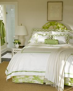 Mirasol Applique Border Bed Linens, Matouk Luxury Monogrammed Linens, sold by Bella Lino // I love the light green and white color combination...the whole set seems elegant yet livable