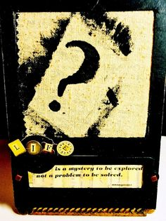 Life is a Mystery HANDCRAFTED & Framed SCREENPRINT--- Life Quote Punctuation Art--Fiber Art / Mixed Media Monoprint / Question Mark by TextileandType on Etsy