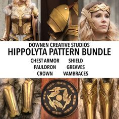 Hippolyta 6 Pattern Bundle! Chest, Pauldrons, Crown, Shield, Greaves, and Vambraces!