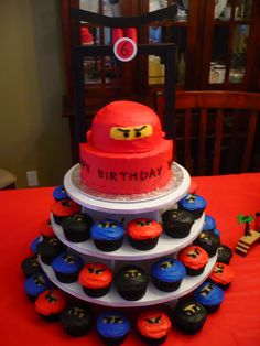 Ninjago Birthday Cake | My sister also got crafty and created some Ninjago balloons using ...