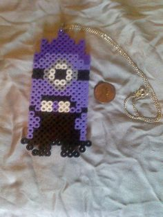 Despicable Me Purple Minion necklace perler beads by  ledulces