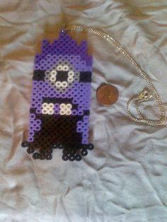 Despicable Me Purple Minion necklace perler beads by  ledulces
