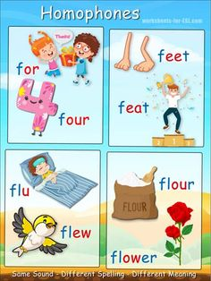 Homophones Starting with 'f' Poster - Free & printable. Jolly Phonics, Teaching Phonics, Preschool Learning, Early Learning, English Vocabulary Words, Learn English Words, English Study, Homophones Examples, Homophones Words
