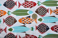 END OF BOLT- Hoodie Fish Fiesta on white - 52""