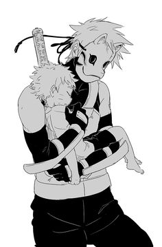ANBU Kakashi and little Naruto <3 | So adorable... gosh